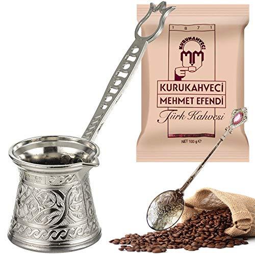 Taza de café turca con diseño de plata fundido y tallado (juego de 3/2 personas) con Kurukahveci Mehmet Efendi cafetera griega árabe de alta calidad con base de acero de doble piso, tapa de inducción