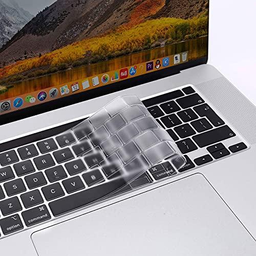 MOSISO Cubierta del Teclado Compatible con 2020 MacBook Pro 13 A2338 M1 A2289 A2251/2019 MacBook Pro 16 A2141 con Touch ID y Pantalla Retina, Ultra Uelgado TPU Protectora Piel, Transparente