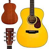"""SIGMA 40"""" Acoustic Guitar, OOO, 4/4 Full-Size, with D'Addario EXP16 Strings, Solid Spruce Top, Vintage Tinted Gloss, Mahogany Back & Sides, Right(10A)"""