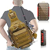 Aertiavty Compact Fishing Tackle Bag, Fishing Bag with Tackle Box and Rod Holder Outdoor Sport Fishing Backpack