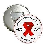 Red Ribbon SIDA día VIH conciencia solidaridad redondo abridor de botellas nevera Imán Pins Badge botón regalo 3pcs