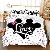 QWAS Juego de cama de Disney, clásico Mickey y Minnie Mouse y ropa de cama, 1 funda nórdica y 2 fundas de almohada, (Mickey...