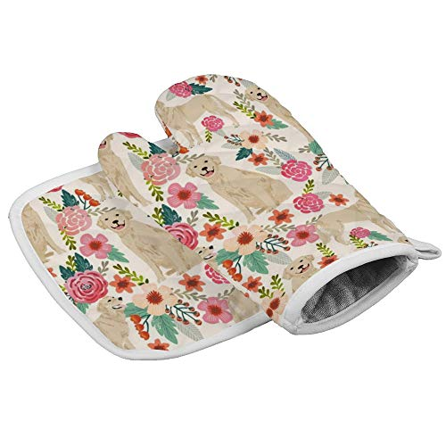 NiYoung Fashion Golden Retriever Floral Dogs Oven Mitt and Pot Holder, Heat Resistant Hot Plate Moving Non-Slip Kitchen Glove and Potholder for Cooking,Baking,Grilling