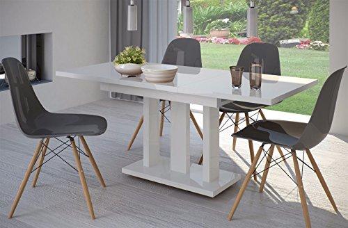 Esstisch Hochglanz Weiss ausziehbar 110cm - 160cm erweiterbar Küchentisch Auszugtisch Säulentisch