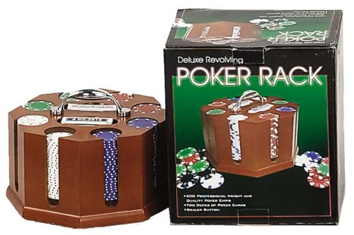 revolving credit cards Revolving Poker Chip Rack With Chips And Cards