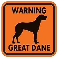 WARNING GREAT DANE マグネットサイン:グレートデーン/垂れ耳(オレンジ)Sサイズ