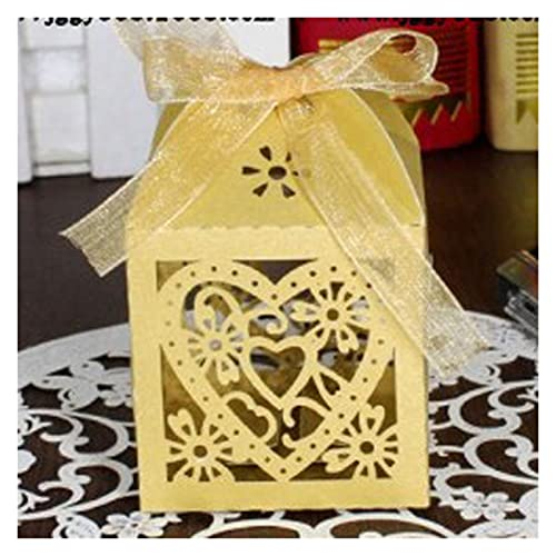 MAUAP 10 unids Hueco Lindo carruaje favores Caja Regalos Cajas de Caramelo con Cinta Baby Shower Boda cumpleaños Evento Festivos Festivos (Color : Gold Love Heart, Gift Box Size : 5x5x8cm)
