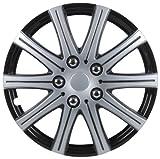 Unitec 75172 Adelaide - Tapacubos (4 Unidades, 40,6 cm, 16''), Color Negro y Plateado