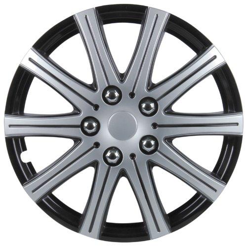 Cartrend 75169 Premium- Radzierblenden 4er- Satz Adelaide, schwarz+ silber 33 cm (13 Zoll) - 4-er Set