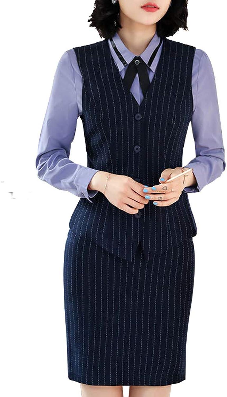 LISUEYNE Women 2 Pieces Office Lady Stripe Business Suit Slim Fit Blazer Vest with Pants or Skirts