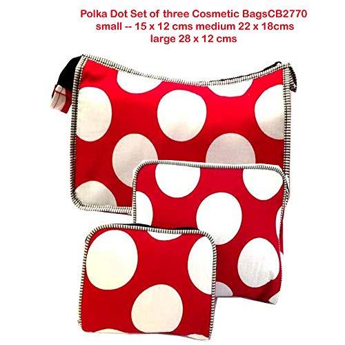 Polka Dot Lot de trois Cosmétique Dos-bagagerie