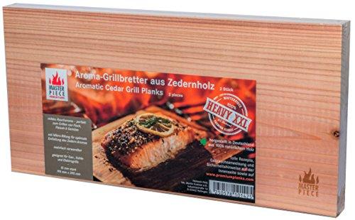 "Masterpiece ""heavy XXL"" – 2 XXL Grillbretter Zeder, 15 mm stark, Grillplanke Premium Qualität, Set à 2 Stk, Maße: 195 x 395 mm, BBQ Räucherbretter inkl. Rezepte, extra großes Format"