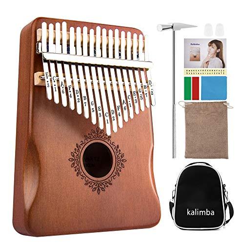 Kalimba 17 Keys Thumb Piano with Waterproof Protective Storage Bag Tune Hammer and Study Instruction Portable Mbira Sanza Finger Piano Gift for Kids Adult Beginners Professional (Kalimba)