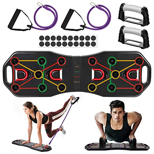 AIMTOP Tabla de Flexiones, 9 en 1 Tabla Push-Up Plegable con Bandas...