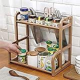 Qisiewell Estantería para especias, 2 niveles, color café, para armarios de cocina y encimeras, organizador de cocina, para tarros de especias, latas y botellas