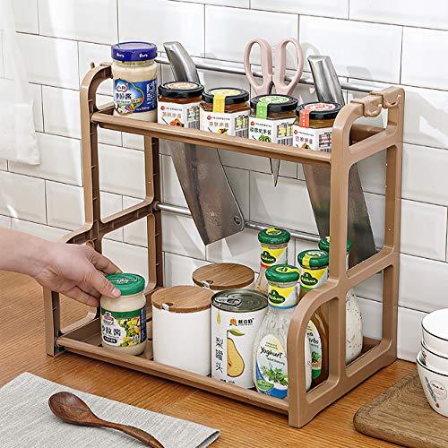 Qisiewell Portaspezie Pratico portaspezie per Armadio da Cucina e Superficie di Lavoro per Ordine in Cucina Allungabile in plastica PP su 2 Livelli Marrone