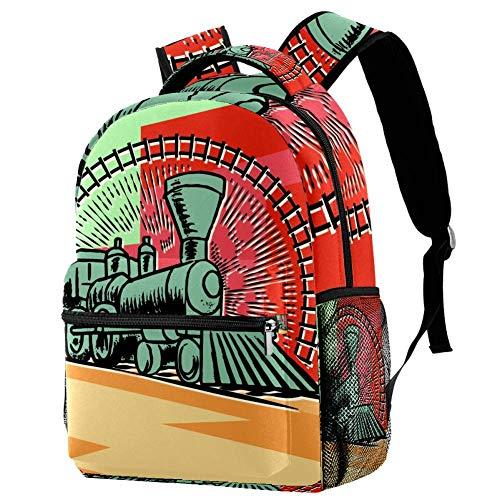 Mochila Escolar Dibujos Animados de Tren Verde Backpack Portátil Daypack Impermeable Bolso Escuela para Niños y Niñas 29.4x20x40cm