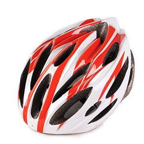 BriskyM Casco per Bici Airflow - Certificato per CPSC e CE Specialized Leggero per Casco da Bici in Microfibra con Scheletro Rinforzato - Regolabile 54-62 cm (Rosso Bianco, OneSize)