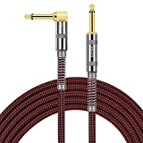 OTraki Electric Guitar Cable 20ft 1/4 Inch Instrument Cable Straight to Right Angle Bass Amp Cord for Keyboard Professional Audio, Woven Tweed Cord with 6.35mm Gold Plated Plug