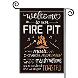 AVOIN Welcome To Our Fire Pit Garden Flag Vertical Double Sided, Marshmallows Music Camper Yard Outdoor Decoration 12.5 x 18 Inch