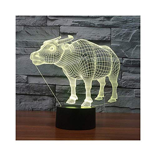 YUNZHI Durable Exquisite UK Cattle Night Light Illusion Lamp Bedside Table Lamp, 7 Colors Changing Touch Switch Desk Decoration Lamps Birthday with Acrylic Flat & ABS Base & USB Cable