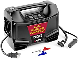 Wagan EL7315 Digital Display Dual AC/DC 110V/12V Air Compressor Tire Inflator with Nozzle Adapters for Vehicle Outdoor and Home Indoor Use, Black