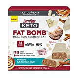 SlimFast Keto Fat Bomb Meal Replacement Bars - Frosted Cinnamon Bun - 5 Count Box - Pantry Friendly