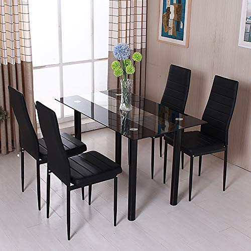 HomeSailing EU Dining Table and Chairs Set Glass Rectangle Table Black Faux Leather Chairs Metal Leg for Home Kitchen Dinning Room Small Space (1 Glass Dinning Table+4 Chair)