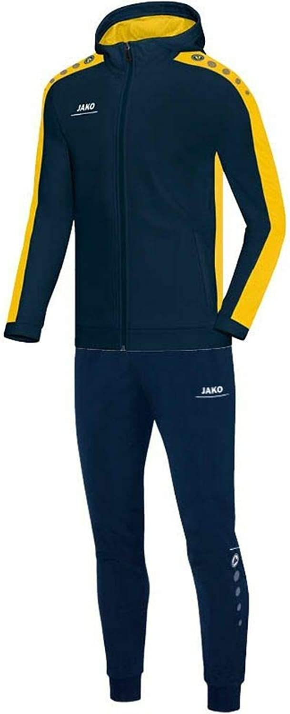 JAKO Fuball Trainingsanzug Polyester Striker mit Kapuze Kinder Jacke Hose Marine gelb