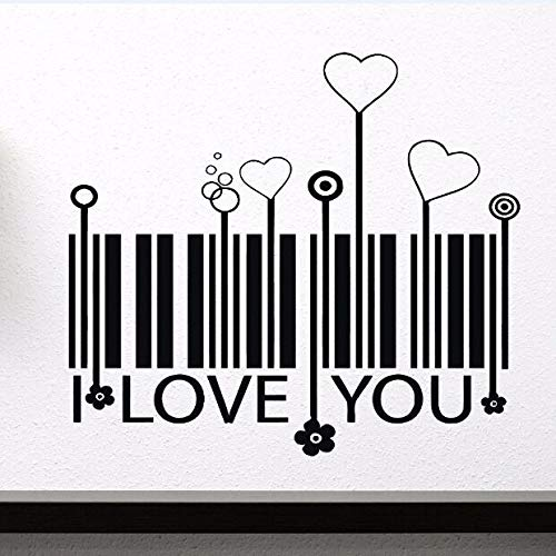 wopiaol Etiqueta de la Pared Etiqueta de Vinilo Love'S Stylized Barcode Vinyl Wall Intimate Flower Decoración para el hogar Heart Barcode Heart Wall Sticker A 64x57cm