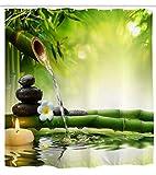 Goodbath Spa Garten Badezimmer Duschvorhang Japanisches Thema Bambus Duschvorhänge Set 12 Haken Wasserdicht Badvorhang Badezimmer Zubehör , 180 x 180 cm, Grün Weiß