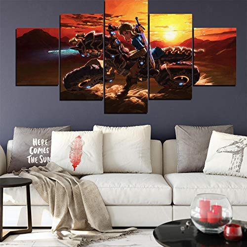Prints On Canvas 5 Pieces Game The Legend Of Zelda: Ocarina Of Time Modular Picture Bedroom Canvas Posters Home Decor Wall Art Size A