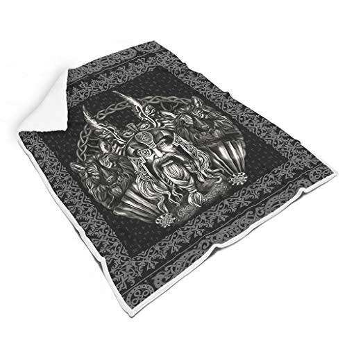 WellWellWell Viking Odin and His Wolf Blanket Lightweight Bed Blanket Summer Breathable Travel Camping Blankets All Season Blankets Dorm Room Decoration Suitable Men White 50x60 inch