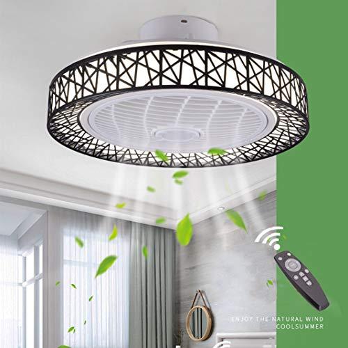 Luz de Ventilador de Techo LED Regulable, con Control Remoto Velocidad del Viento Ajustable Ventilador de Techo Silencioso Sala de Estar Dormitorio Habitación para Niños Lámpara de Techo-50CM(B-Negro)
