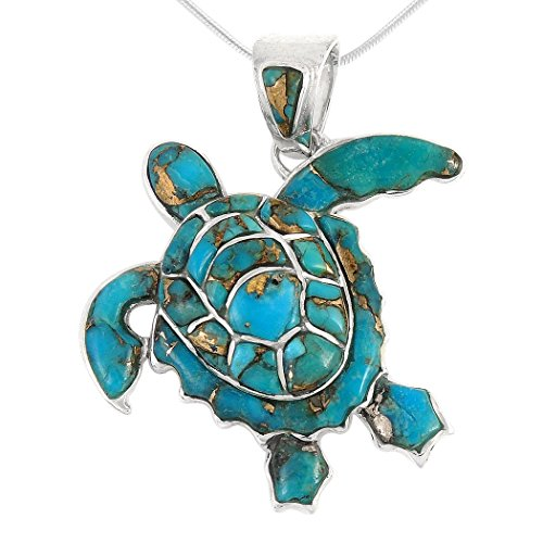 Turtle Pendant Necklace in Sterling Silver 925 & Copper Matrix Turquoise