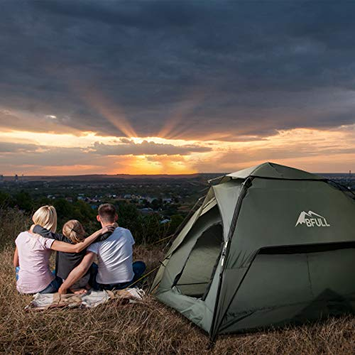BFULL Pop-up Family Camping Tent 4-5 Persons, Waterproof Ventilated Removable Instant Tent, Quick Set up Dome Tent for Outdoor Camping, Hiking, Fishing.