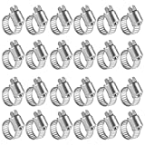 Winlong Stainless Steel Hose Clamps - 24 Pack Worm Gear Drive Hose Clamp All 300 Stainless Steel Micro Size 4 Clamping Range from 1/4 Inch to 5/8 Inch (6mm-16mm) for Automotive Plumbing