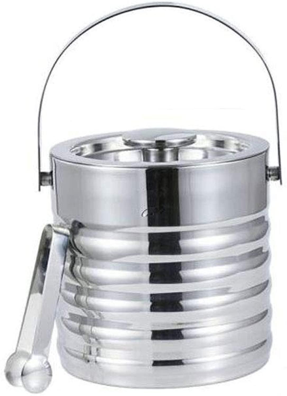 CQIANG 二重層のアイスペール、ふたのアイスペールが付いているステンレス鋼、角氷、氷水、等のために適した銀3Lは冷たいビール、赤ワイン、等のために適しています。 Free day (Capacity : 3L, Color : 銀)
