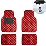 FH Group F12002 Luxury Universal Liners All Seasons Heavy Duty Faux Leather Car Floor Mats Diamond Design (Red) with Gift - Universal Fit for Cars, Trucks & SUVs