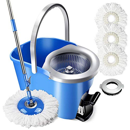 Masthome Mopp- und Eimersets mit 3 Mikrofasermoppköpfen und 1 Bodenbürste 8L Food Pedal Spin Mop Eimer für Bodenreinigung