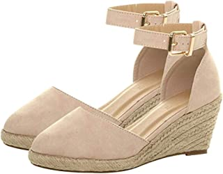 Women' Espadrille Buckle Wrap Ankle Strap Sandals Wedges Sandals Summer Weaving Waterproof Breathable Ladies Casual Shoes