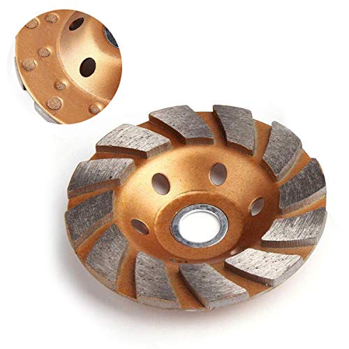 4 Inch Concrete Stone Ceramic Turbo Diamond Grinding Cup Wheel,12 Segs Heavy Duty Angle Grinder Wheels for Angle Grinder (Yellow)