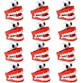 Liberty Imports 12 Pack Jumbo 3 Inches Chattering Teeth with Eyes Classic Wind Up Chomping Walking Teeth Office Toy Dentures - Novelty Party Favors Kids Gag Gifts by Liberty Imports