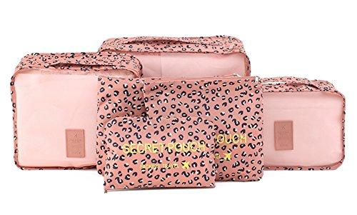 Isuperb ® 6 cubi Set 3 pezzi da imballaggio e da 3 borse per biancheria, motivo floreale, impermeabile, rete da viaggio per riporre gli abiti da viaggio per bagagli Leopard Print Pink