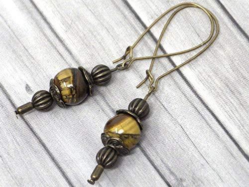 Pendientes Thurcolas de estilo vintage en ojo de tigre marrón montados en elegantes aros de bronce antiguo