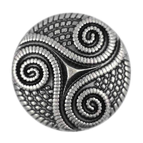 Bezelry 8 Pieces Roped Celtic Triple Spiral Gray Silver Color Metal Shank Blazer Button. 25mm (1 inch)