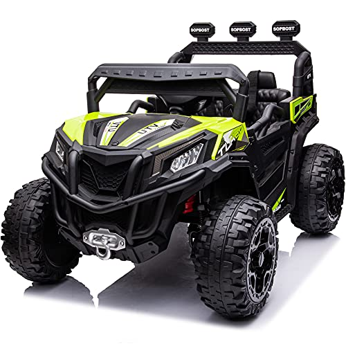 sopbost 4X4 Ride-On UTV Buggy 12V Ride On Toy Car w/ 2.4G Remote Control Electric Ride On Off-Road Truck Car with Spring Suspension for Kids Toddlers, Bluetooth, USB, Music Play, Green