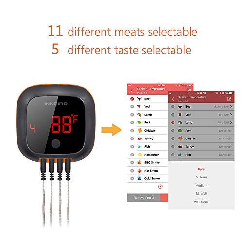 Inkbird IBT-4XS Bluetooth Wireless Grill BBQ Thermometer for Grilling with 4 Probes, Rechargeable Battery, Timer, Alarm,150 ft Barbecue Cooking Kitchen Food Meat Thermometer for Smoker, Oven, Drum