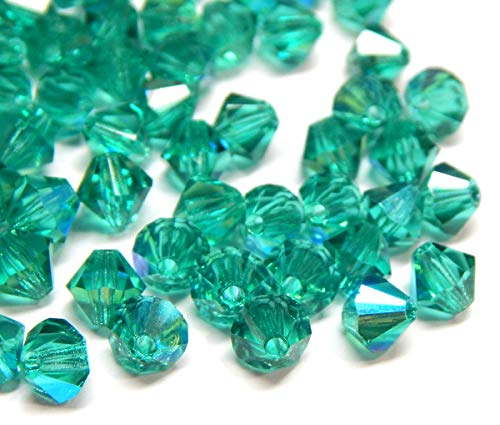 40stk Preciosa Böhmische Kristallperlen 4mm Doppelkegel Tschechische Perlen Glasschliffperlen Glasperlen, Bicone Beads, Farbauswahl (Emerald AB)