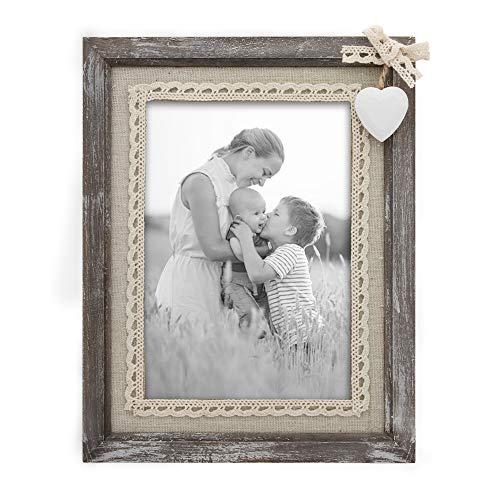 Afuly Holz Bilderrahmen 13x18 Vintage Rustikale Shabby Natur Braun Fotorahmen mit Weißen Herz und Sackleinen Hochzeitsgeschenke